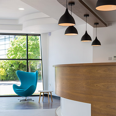 The refurbished reception area at the Aurora Offices